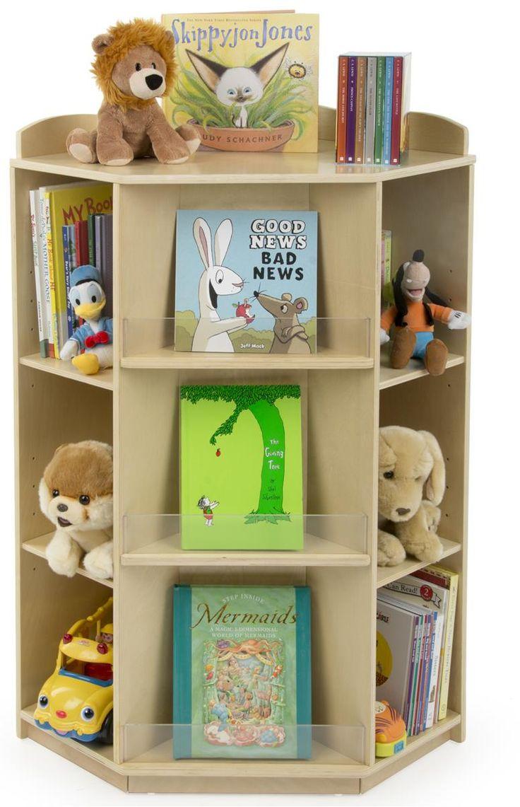 Children's Book Display for Floor, Corner Unit with Adjustable Shelves, Wood, Natural