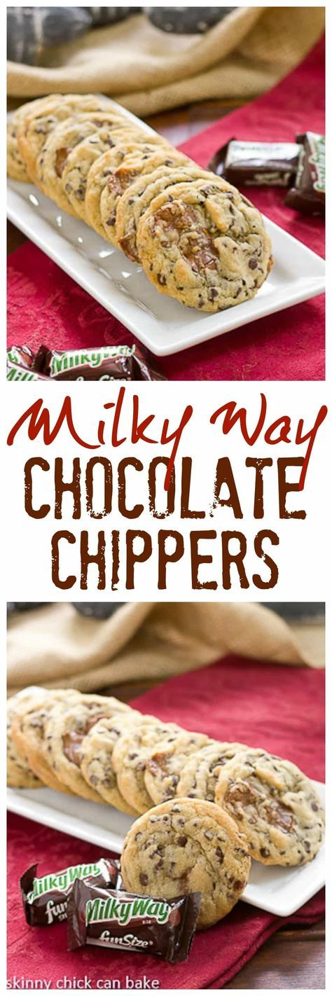 Milky Way Chocolate Chip Cookies | Kicked up chocolate chip cookies with the addition of Milky Way chunks @lizzydo