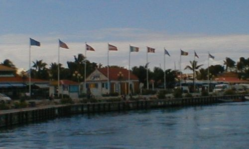 Flags flying in Marigot harbour, Saint-Martin