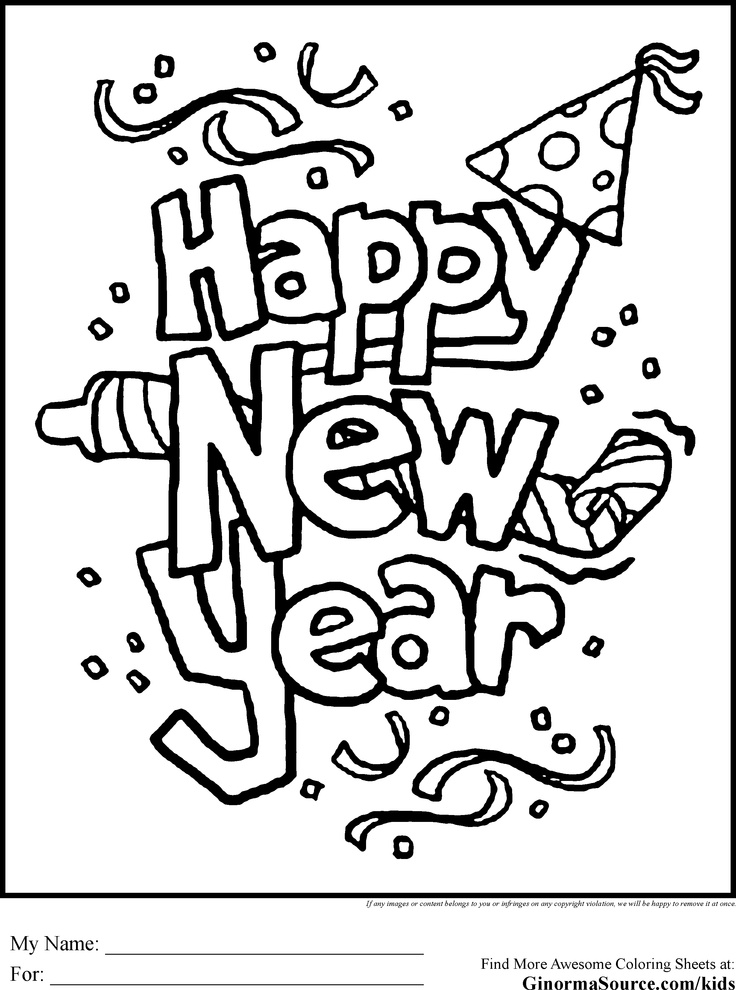 new years coloring page banner