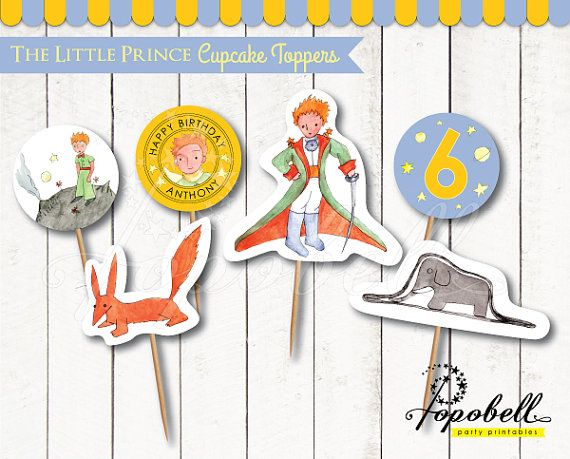 The Little Prince Cupcake Toppers for The Little Prince birthday. Le Petit Prince Circles Printable for DIY Le Petit Prince Party. DIGITAL.