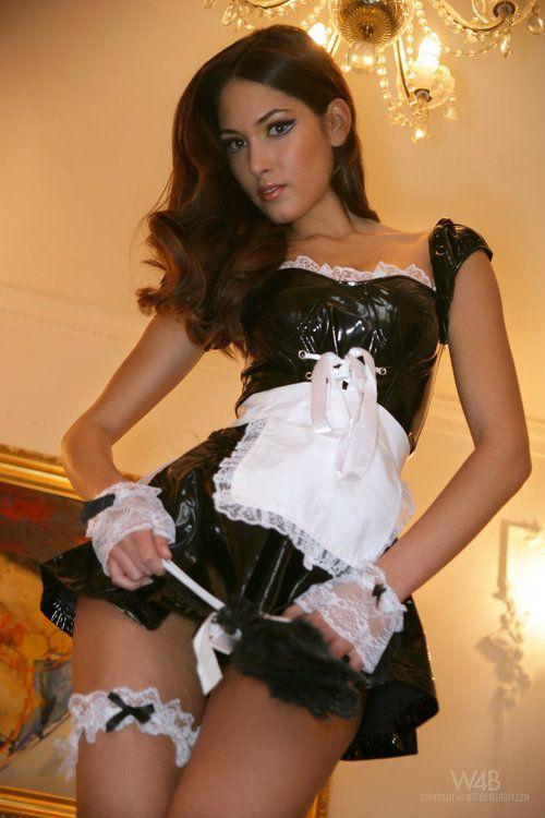 French maid ladyboys fucking