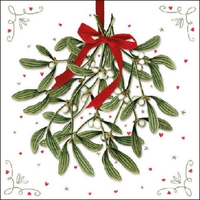 4 Single Lunch Paper Napkins for Decoupage Craft Napkin Christmas Magic Flowers