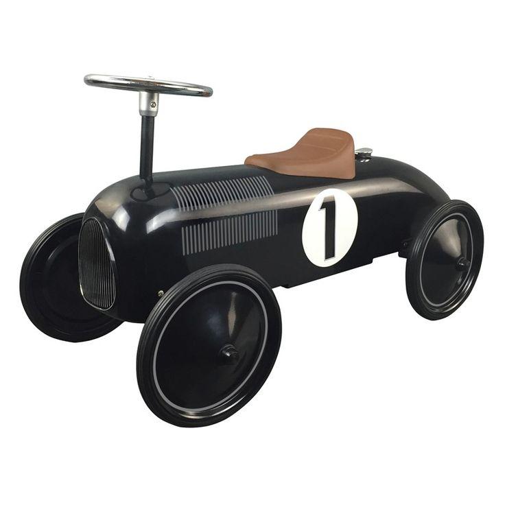 Compra online aquí este precioso correpasillos coche de carreras de color negro con estilo clásico o vintage. Fabricado en chapa metálica perfecto para niños.
