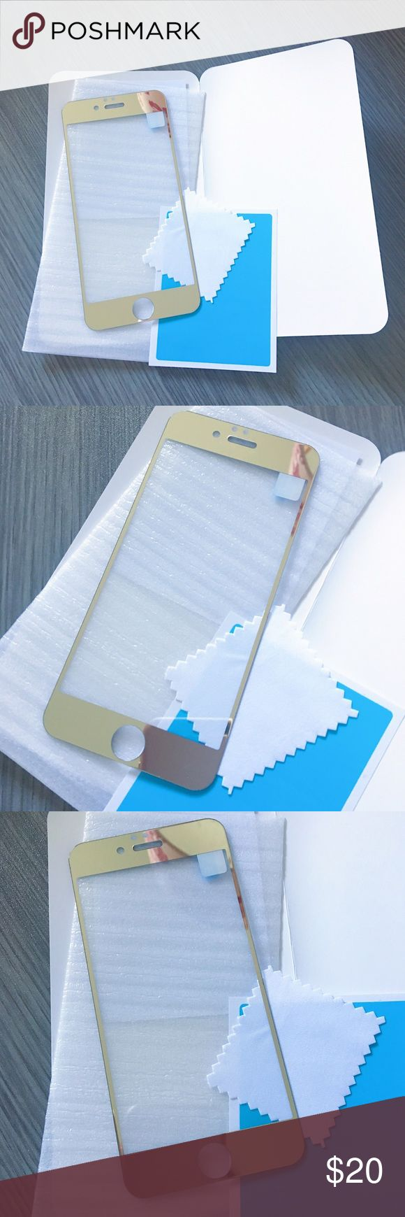 iPhone 6/6s 9H Tempered Glass Screen Protector Mirror effect gold premium tempered glass screen protecter. High definition clear, no loss of HD resolution, anti-scratch. Thickness of 0.3mm and 2.5 D rounded edge cut. Anti-shatter film, won't be sharp even when broken into small pieces. *DOES NOT FIT IPHONE 6+/6S+* Accessories Phone Cases