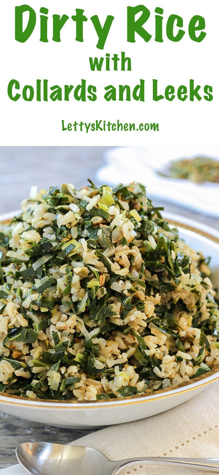 A perfect holiday side dish. Gluten-free and Vegan Dirty Rice with Collard Greens and Leeks. [from LettysKitchen.com]