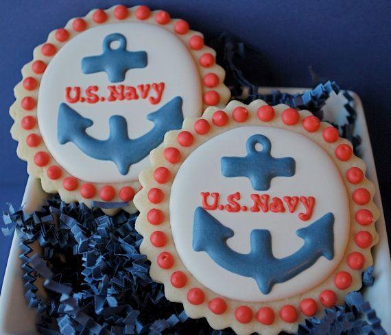 U.S. Navy Anchor Decorated Sugar Cookies 12 by sweetgoosiegirl, $36.00