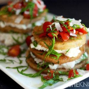 Rustic eggplant stacks with ricotta