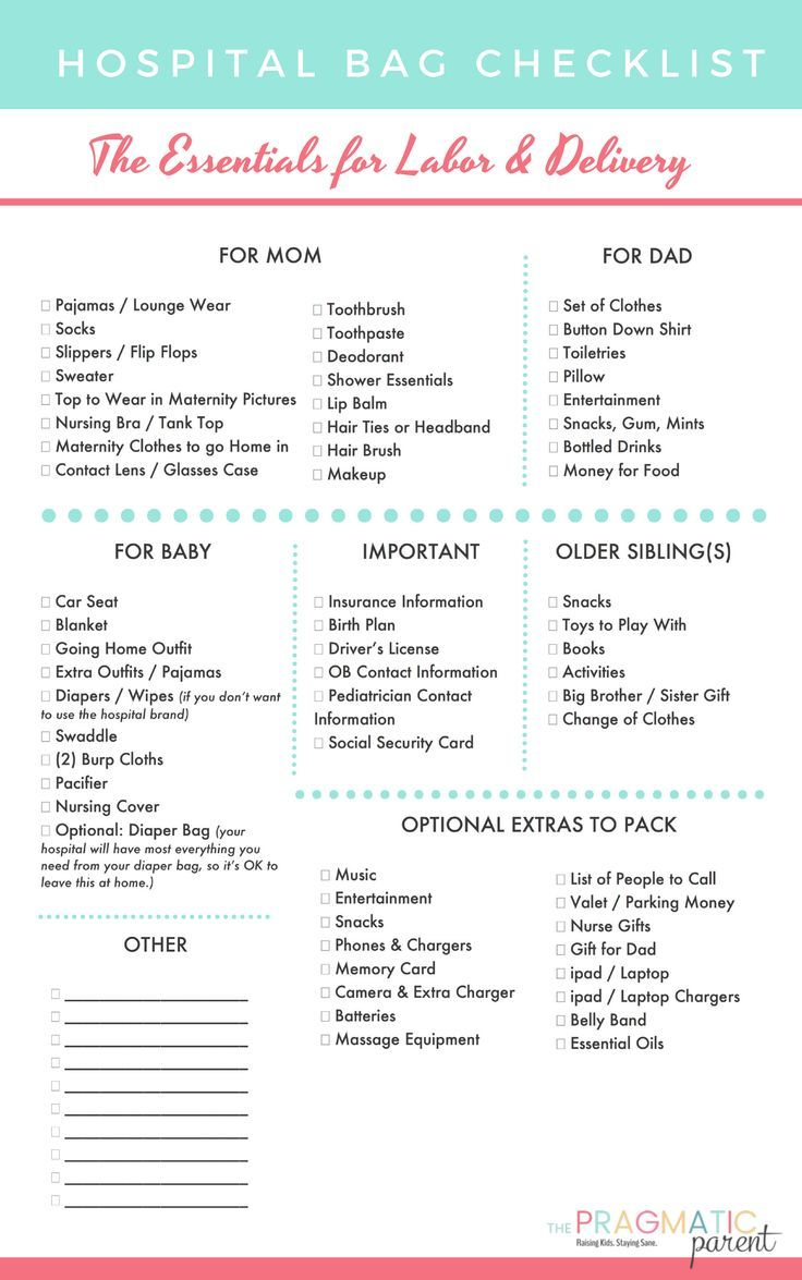 Free Printable Labor Delivery Hospital Bag Checklist What Should I Pack For Baby And Postpartum Practical Items To In Your