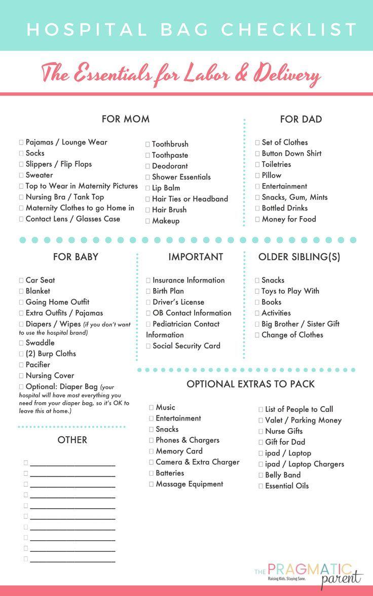 Printable Hospital Bag Packing List for Labor & Delivery ...