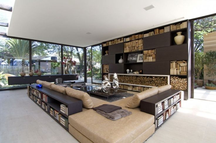 delightful-modern-living-room-interior-design-color-schemes-with-big-white-ceiling-and-wooden-shelves-cabinets-also-glass-front-wall-as-well-as-brown-sofa-with-coffee-table-ideas-modern-interior-desig-936x621.jpg (936×621)