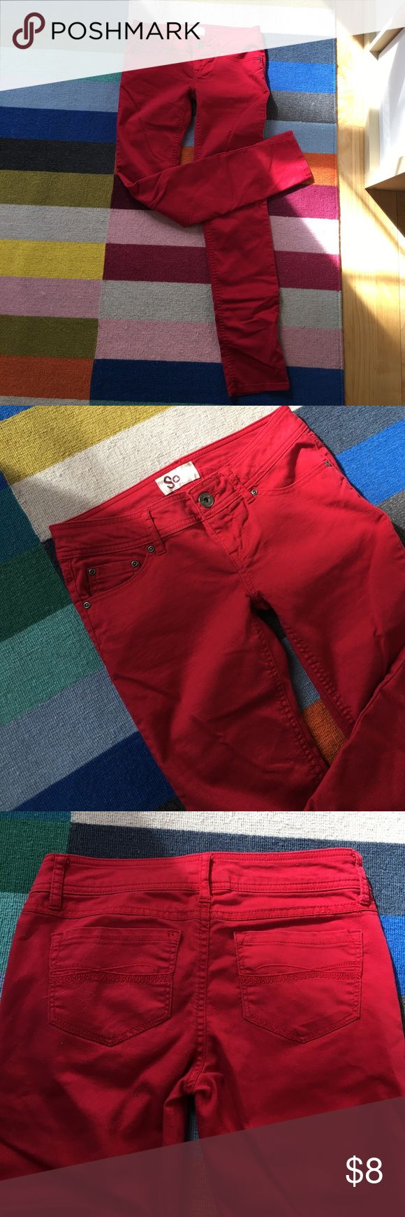 Red skinny jean Red skinny jeans, rarely worn. Low rise So by kohls Jeans Skinny