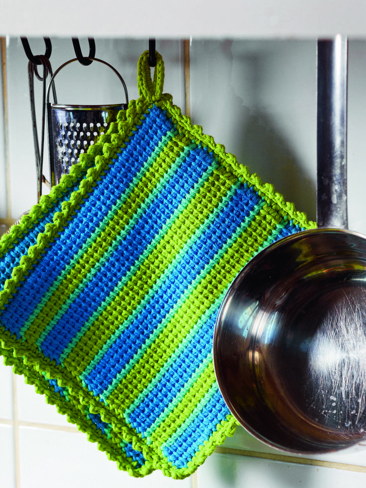 Lime & Turquoise Tunisian Crochet Potholder from Crochet for the Kitchen by Tove Fevang. Over 50 Patterns for Placemats, Potholders, Hand Towels, and Dishcloths Using Crochet and Tunisian Crochet Techniques.