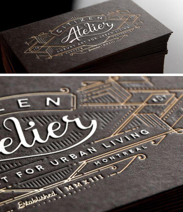 The 122 best embossing debossing images on pinterest embossed atelier black embossed business card design colourmoves