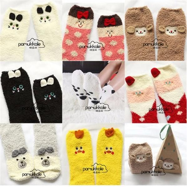 Kids Fluffy Thick Coral Fleece Warm Winter Floor Bed Soft Socks Christmas Gifts