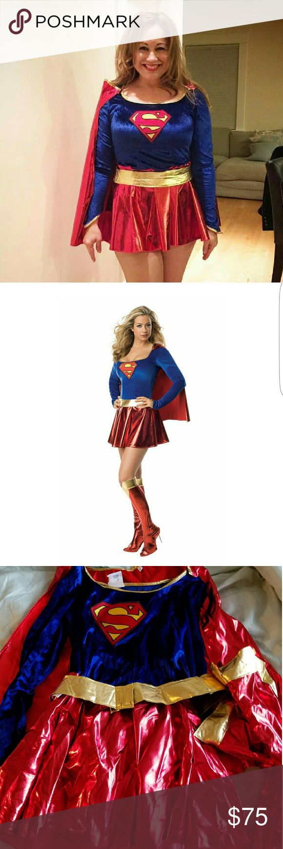 """Halloween Supergirl costume! Worn only once, sexy Supergirl costume.  Size small. I'm 5'4"""", 155 lbs. This would fit from 5'1""""-5-8"""", 110 lbs-165lbs. It's stretchy and comfortable! DC Comics Secret Wishes  Dresses Mini"""