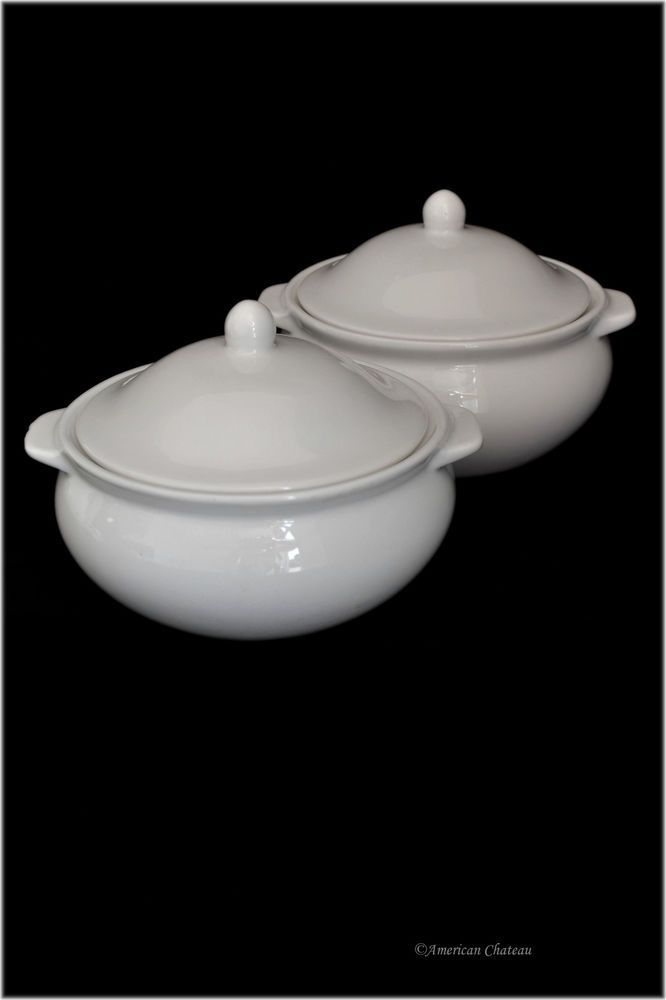 Set 2 Traditional White Porcelain French Onion Soup Bowls Crocks w Handles & Lid #AmericanChateau
