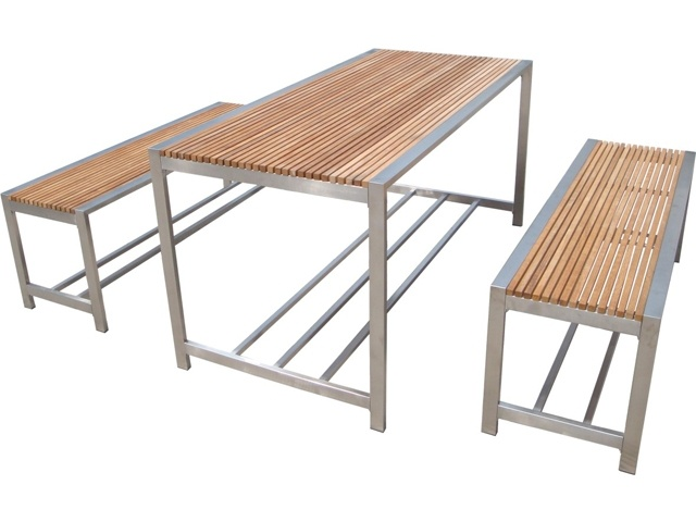 Stainless Steel Table And Bench Patio Furniture