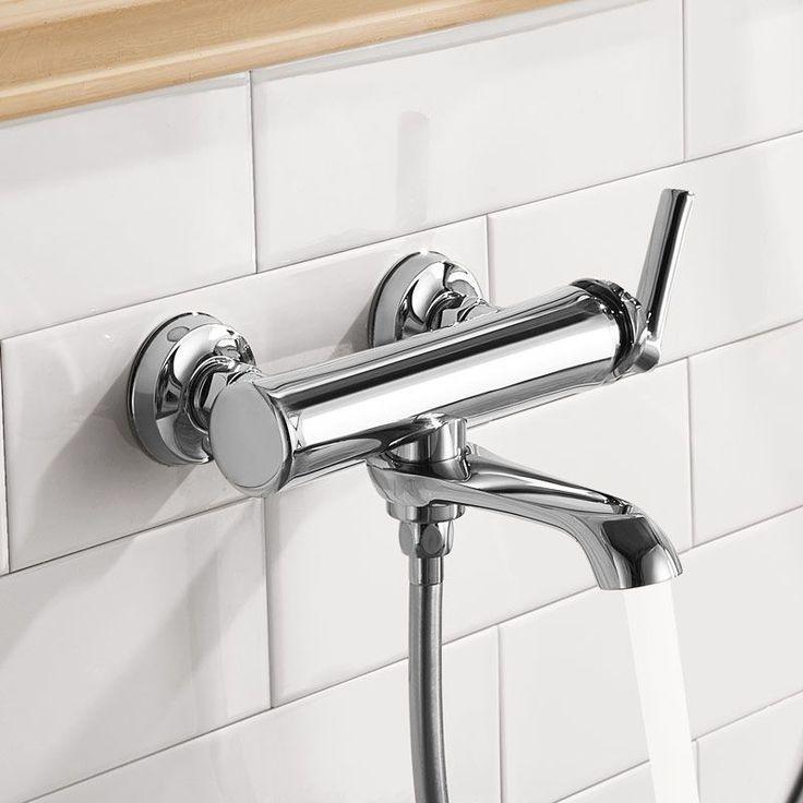 24 best salle de bain images on Pinterest Bathroom, Faucets and - mitigeur mural salle de bain