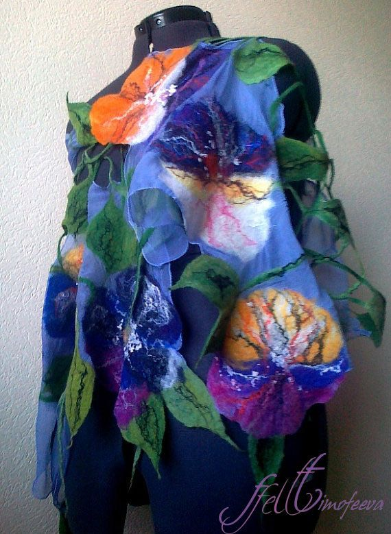 Nuno felted scarf  Viola  RESERVED for Teresa by FfeltT on Etsy