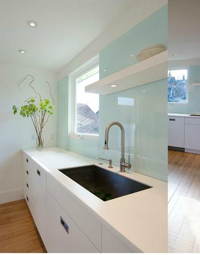 glass back splash / floating shelf