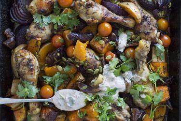 Harissa chicken, butternut and tomato bake – Recipes – Bite
