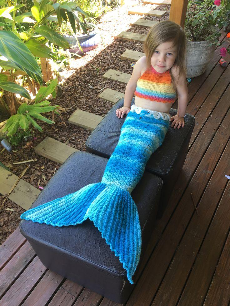 Rainbow halter bikini top & blue ocean crochet mermaid tail...www.lamalatae.com.au