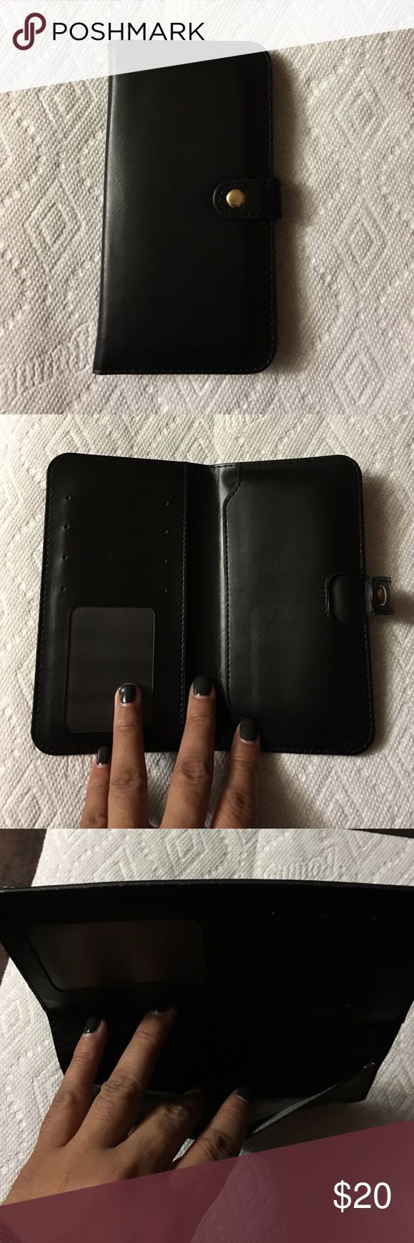 Wallet with pocket for phone Black wallet with cards slots and the side pocket holds your phone.  The side pocket will hold a phone with the screen size 4.7 or smaller. The last picture shows the wallet with an iPhone 6. (iPhone not included) Accessories Phone Cases