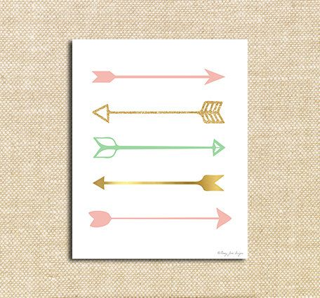 Pink Gold and Seafoam Green Arrows Digital Printable Art| Instant Download Print for Wall Decor DIY Nursery Decoration or Gift | Valentines