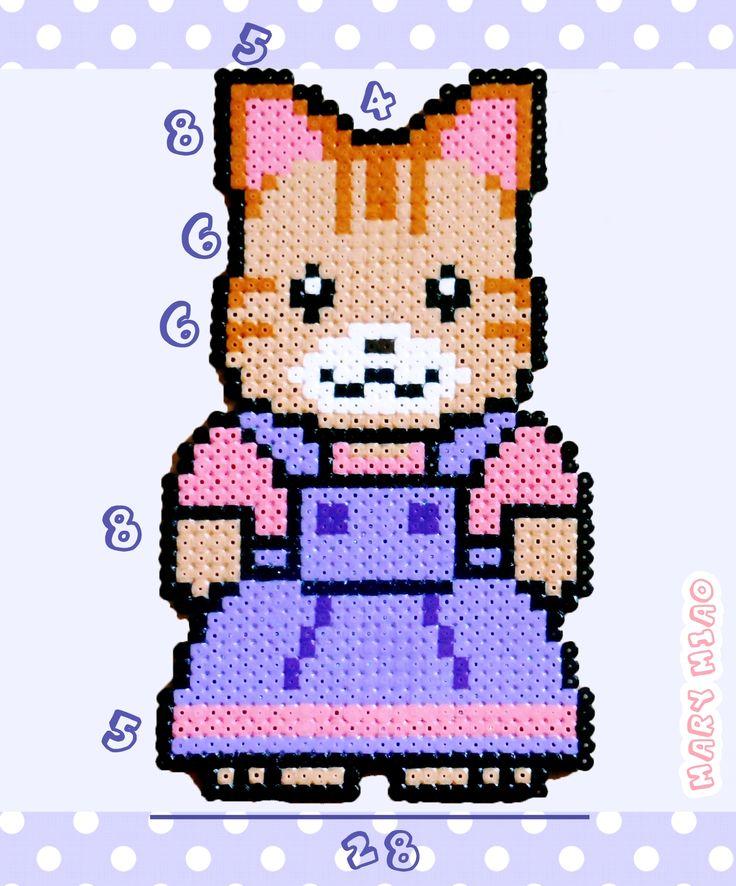 Gattina kawaii schema per PYSSLA, PERLER BEADS cute Sylvanian Families cat girl pattern *** https://www.youtube.com/watch?v=Szr7JEaX9c4