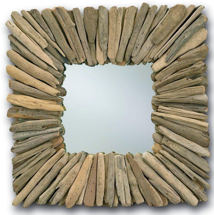 Montage très simple mais sublime d'un miroir avec encadrement en bois flotté... | Finistère Bretagne