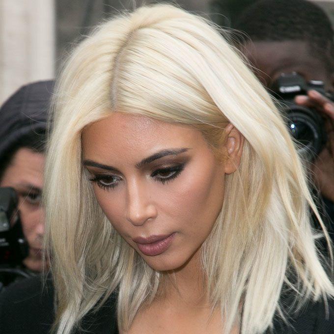 Kim K / blonde wig + semi dark, neutral makeup