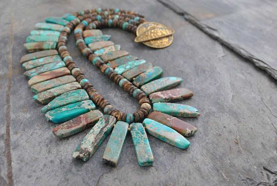 Boho/Tribal 2 Strand Sea Sediment Jasper Graduated Pendant Bead Statement Necklace #double #doublestrand #tribal #tribalstyle #boho #bohemian #artisan #artisannecklace #necklace #handmade #oneofakind #gemstone #seasediment #jasper #seasedimentjasper #imperial #imperialjasper #pendants #graduated #set #pendantbeadset #coconut #coconutheishi #heishi #nepalese #repousse #clasp #unique #turquoise #brown #natural #turquoisebrown