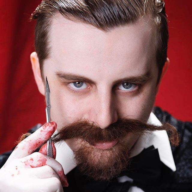 One of the two amazing photos I have in my portfolio of my facial hair assessment.  .  .  .  .  .  .  .  .  .  #hair #facialhair #fakefacialhair #makeuo #sfx #fx #effectsmakeup #effects #moviemakeup #movie #beardedhorror #mehron #creaphair #joesugg #zoella #murderer #pain #jacktheripper #serialkiller #killer #blood #jack #ripper #longhair #model #makeup #cool #knife #disections