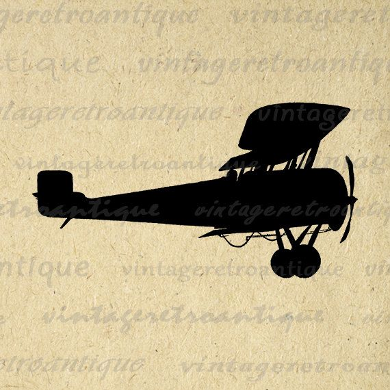 Antique Airplane Silhouette Image Digital Printable Plane Illustration Graphic Download Vintage Clip Art Jpg Png Eps 18x18 HQ 300dpi No.3286 @ vintageretroantique.etsy.com #DigitalArt #Printable #Art #VintageRetroAntique #Digital #Clipart #Download