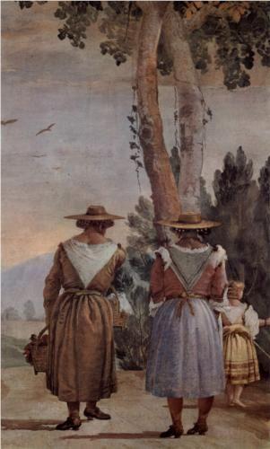 Giovanni Domenico Tiepolo - Two Peasant Women and a Child.