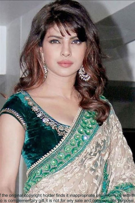 Priyanka Chopra Offwhite Bollywood Replica Saree