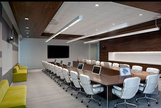 Adobe's conference room- The table in the similarly finished executive boardroom incorporates built-in Arthur Holm monitors that retract on command.