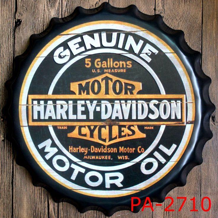 כובע בקבוק שמן מנוע אופנוע אמיתי פלאק לוחית מתכת דקורטיבית Vintage מתכת לחתום Vintage אמנות קיר פאב בית תפאורה 35 CM