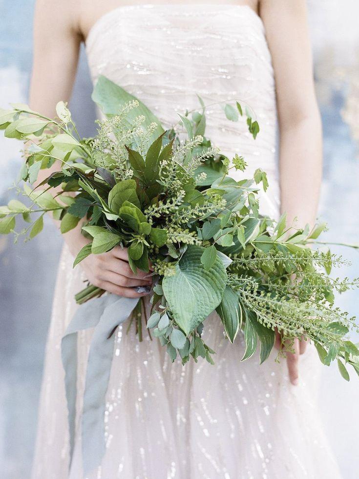 amazing textural all green bridal bouquet captured by Elisa Bricker