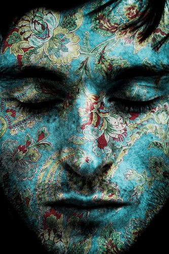 #tattoos: Prints Patterns, Floral Prints, Faces Art, Blue, Self Portraits, Faces Paintings, Body Paintings, Boys, Bright Lights
