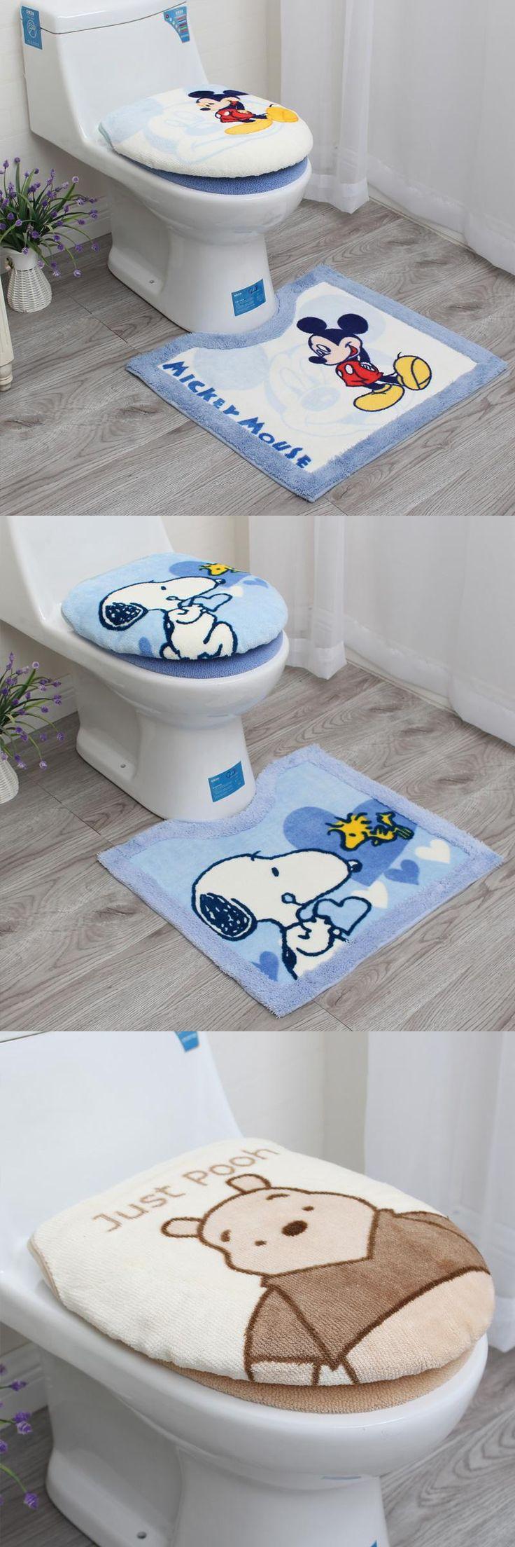 [Visit to Buy] 3Pcs/Set Cartoon Bathroom Toilet Set Cover Thickened Warm Plush Toilet Seat Cover Bath Mat Washable O Ring Toilet Seat Cushion #Advertisement