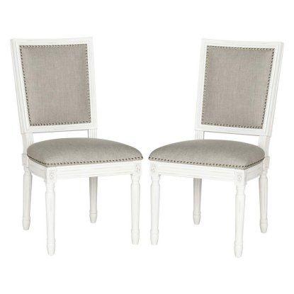 Safavieh Buchanan Light Gray Linen Side Dining Chair - Set of 2 - Dining Chairs at Hayneedle