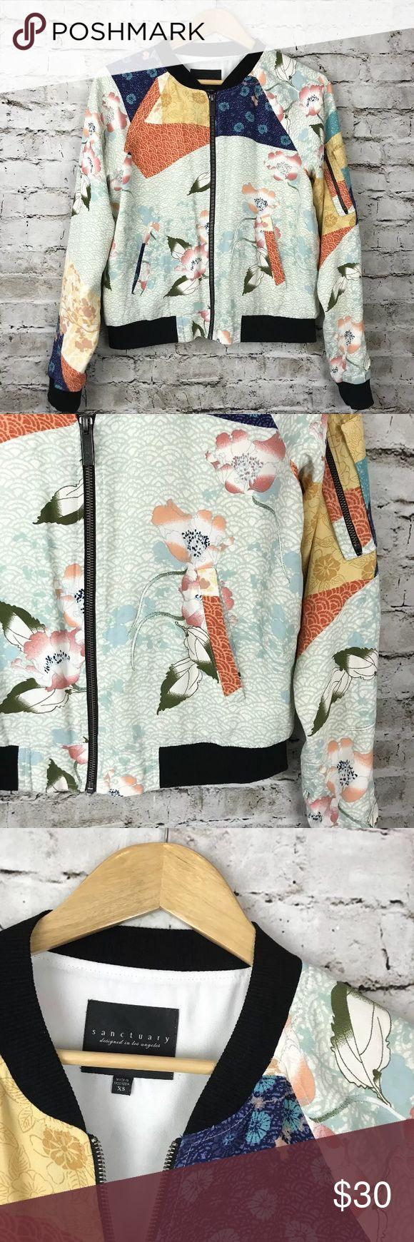Sanctuary bomber jacket floral zip up Good condition. Size S. Sanctuary Jackets & Coats