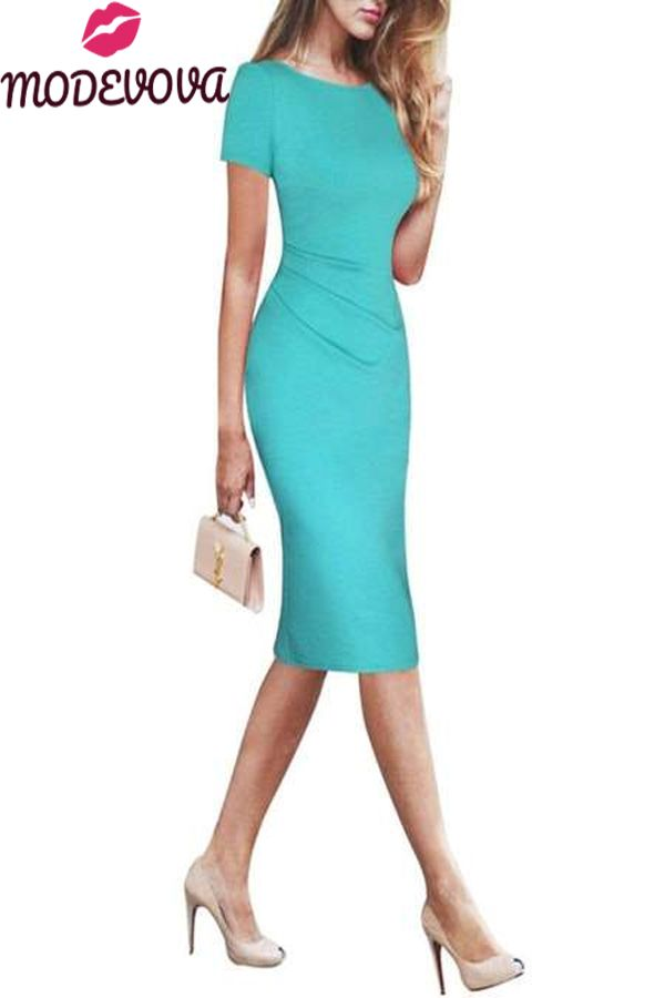 Round Neck Plain Bodycon Dress 2
