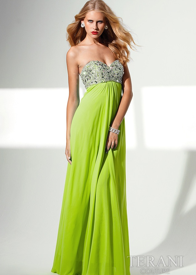 Babes mobile beaded petite lime green evening dress