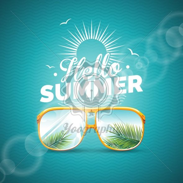 Vector illustration on a summer holiday theme with sunglasses on blue background. - Royalty Free Vector Illustration
