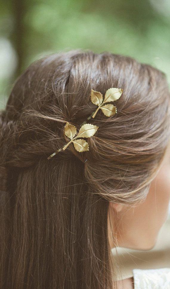 Grecian Leaf Hair Clips Gold Leaf Bobby Pins Leaf by EchoandLaurel
