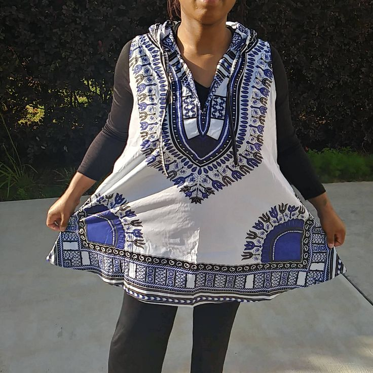 White and Blue Dashiki Hoodie- Dashiki Vest-  Sleeveless Dashiki Hoodie- Unisex Dashiki Top With Hood by ImaniEssentials on Etsy