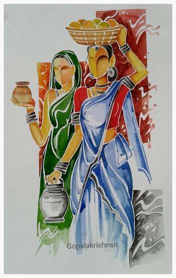 """Village Girls"" #Creative #Art in #painting @Touchtalent…"